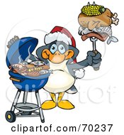 Royalty Free RF Clipart Illustration Of A Grilling Penguin Wearing A Santa Hat And Holding Food On A BBQ Fork by Dennis Holmes Designs