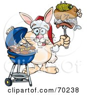 Grilling Rabbit Wearing A Santa Hat And Holding Food On A BBQ Fork