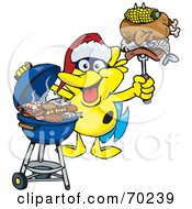 Royalty Free RF Clipart Illustration Of A Grilling Marine Fish Wearing A Santa Hat And Holding Food On A BBQ Fork