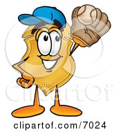 Badge Mascot Cartoon Character Catching A Baseball With A Glove