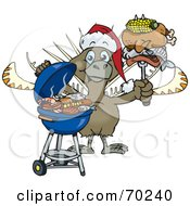 Royalty Free RF Clipart Illustration Of A Grilling Lyrebird Wearing A Santa Hat And Holding Food On A BBQ Fork by Dennis Holmes Designs