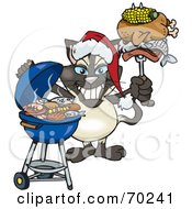 Royalty Free RF Clipart Illustration Of A Grilling Siamese Cat Wearing A Santa Hat And Holding Food On A BBQ Fork