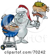Grilling Shark Wearing A Santa Hat And Holding Food On A BBQ Fork