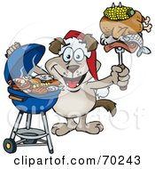 Royalty Free RF Clipart Illustration Of A Grilling Dog Wearing A Santa Hat And Holding Food On A BBQ Fork