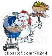 Royalty Free RF Clipart Illustration Of A Grilling Terrier Wearing A Santa Hat And Holding Food On A BBQ Fork