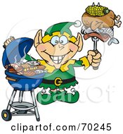Royalty Free RF Clipart Illustration Of A Grilling Christmas Elf Holding Food On A BBQ Fork by Dennis Holmes Designs