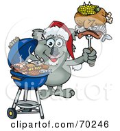 Royalty Free RF Clipart Illustration Of A Grilling Koala Wearing A Santa Hat And Holding Food On A BBQ Fork