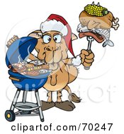 Royalty Free RF Clipart Illustration Of A Grilling Camel Wearing A Santa Hat And Holding Food On A BBQ Fork by Dennis Holmes Designs