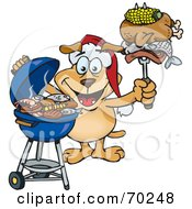 Royalty Free RF Clipart Illustration Of A Grilling Sparkey Dog Wearing A Santa Hat And Holding Food On A BBQ Fork by Dennis Holmes Designs