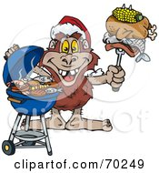Royalty Free RF Clipart Illustration Of A Grilling Yowie Wearing A Santa Hat And Holding Food On A BBQ Fork by Dennis Holmes Designs