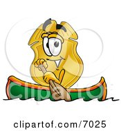 Clipart Picture Of A Badge Mascot Cartoon Character Rowing A Boat