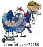 Royalty Free RF Clipart Illustration Of A Grilling Blue Butterfly Wearing A Santa Hat And Holding Food On A BBQ Fork by Dennis Holmes Designs