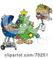 Royalty Free RF Clipart Illustration Of A Grilling Christmas Tree Holding Food On A BBQ Fork
