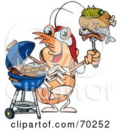 Royalty Free RF Clipart Illustration Of A Grilling Prawn Wearing A Santa Hat And Holding Food On A BBQ Fork by Dennis Holmes Designs