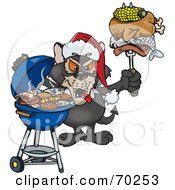 Royalty Free RF Clipart Illustration Of A Grilling Tasmanian Devil Wearing A Santa Hat And Holding Food On A BBQ Fork by Dennis Holmes Designs