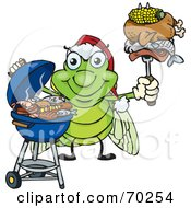 Royalty Free RF Clipart Illustration Of A Grilling Cicada Wearing A Santa Hat And Holding Food On A BBQ Fork by Dennis Holmes Designs