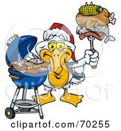 Royalty Free RF Clipart Illustration Of A Grilling Pelican Wearing A Santa Hat And Holding Food On A BBQ Fork by Dennis Holmes Designs