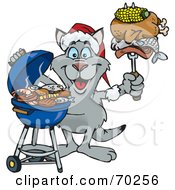 Royalty Free RF Clipart Illustration Of A Grilling Kangaroo Wearing A Santa Hat And Holding Food On A BBQ Fork by Dennis Holmes Designs