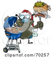 Royalty Free RF Clipart Illustration Of A Grilling House Fly Wearing A Santa Hat And Holding Food On A BBQ Fork by Dennis Holmes Designs