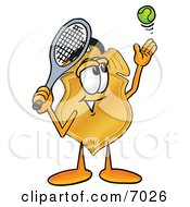 Clipart Picture Of A Badge Mascot Cartoon Character Preparing To Hit A Tennis Ball