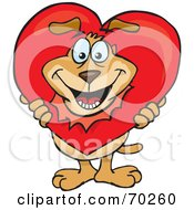 Royalty Free RF Clipart Illustration Of A Sparkey Dog Breaking His Head Through A Heart by Dennis Holmes Designs