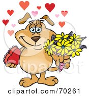 Royalty Free RF Clipart Illustration Of A Sparkey Dog Holding Flowers And Chocolates With Hearts