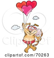 Royalty Free RF Clipart Illustration Of A Sparkey Dog Cupid Floating Away With Heart Balloons by Dennis Holmes Designs