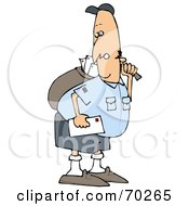 Royalty Free RF Clipart Illustration Of A Grumpy Mail Man Carrying A Bag
