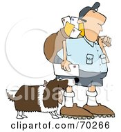 Royalty Free RF Clipart Illustration Of A Springer Spaniel Dog Biting A Mailman Version 2