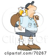 Royalty Free RF Clipart Illustration Of A Mail Man Carrying A Bag