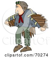Royalty Free RF Clipart Illustration Of A Man Wearing Artificial Wings And Preparing To Fly by djart
