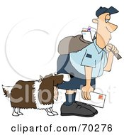 Royalty Free RF Clipart Illustration Of A Springer Spaniel Dog Biting A Mailman Version 1