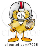 Clipart Picture Of A Badge Mascot Cartoon Character In A Helmet Holding A Football by Toons4Biz