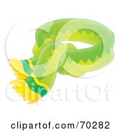 Royalty Free RF Clipart Illustration Of A Tied Green And Yellow Airbrushed Scarf by Alex Bannykh