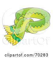 Royalty Free RF Clipart Illustration Of A Tied Green And Yellow Scarf