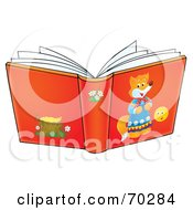 Royalty Free RF Clipart Illustration Of An Open Red Story Book
