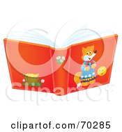 Royalty Free RF Clipart Illustration Of An Open Red Airbrushed Story Book