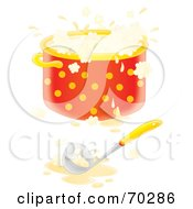 Royalty Free RF Clipart Illustration Of A Ladle With A Boiling Pot Of Airbrushed Soup And A Spill On The Counter by Alex Bannykh