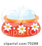 Royalty Free RF Clipart Illustration Of A Red Daisy Bowl With Sugar Cubes