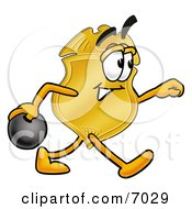 Clipart Picture Of A Badge Mascot Cartoon Character Holding A Bowling Ball by Toons4Biz