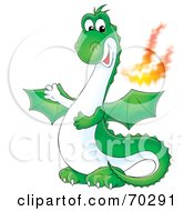 Royalty Free RF Clipart Illustration Of A Green Fire Breathing Dragon by Alex Bannykh