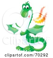 Royalty Free RF Clipart Illustration Of A Green Airbrushed Fire Breathing Dragon
