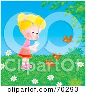 Royalty Free RF Clipart Illustration Of A Blond Girl Feeding Birds On A Spring Day by Alex Bannykh