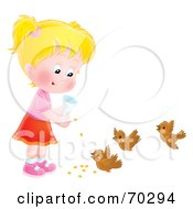 Royalty Free RF Clipart Illustration Of A Little Airbrushed Blond Girl Feeding Birds