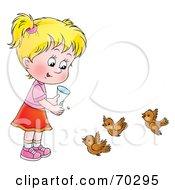 Royalty Free RF Clipart Illustration Of A Little Blond Girl Feeding Birds by Alex Bannykh