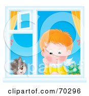 Royalty Free RF Clipart Illustration Of A Cat Watching A Lonely Red Haired Boy In A Window