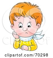Royalty Free RF Clipart Illustration Of An Upset Red Haired Boy Resting His Head On His Hand