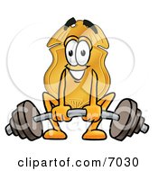 Clipart Picture Of A Badge Mascot Cartoon Character Lifting A Heavy Barbell by Toons4Biz