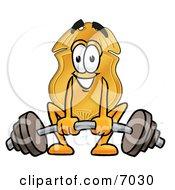 Badge Mascot Cartoon Character Lifting A Heavy Barbell by Toons4Biz