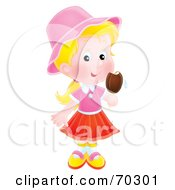 Royalty Free RF Clipart Illustration Of A Little Airbrushed Blond Girl Eating A Popsicle by Alex Bannykh
